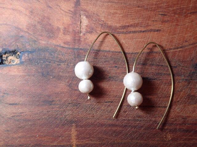 cotton pearl gorgeous earrings antique color