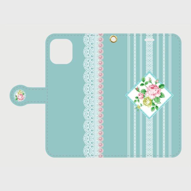 博多献上×Rose AntiqueBlue/ iPhone専用・手帳型(帯あり)