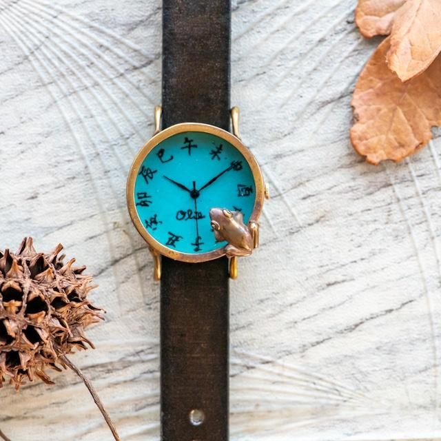 池をのぞく蛙腕時計M渋青緑江戸文字