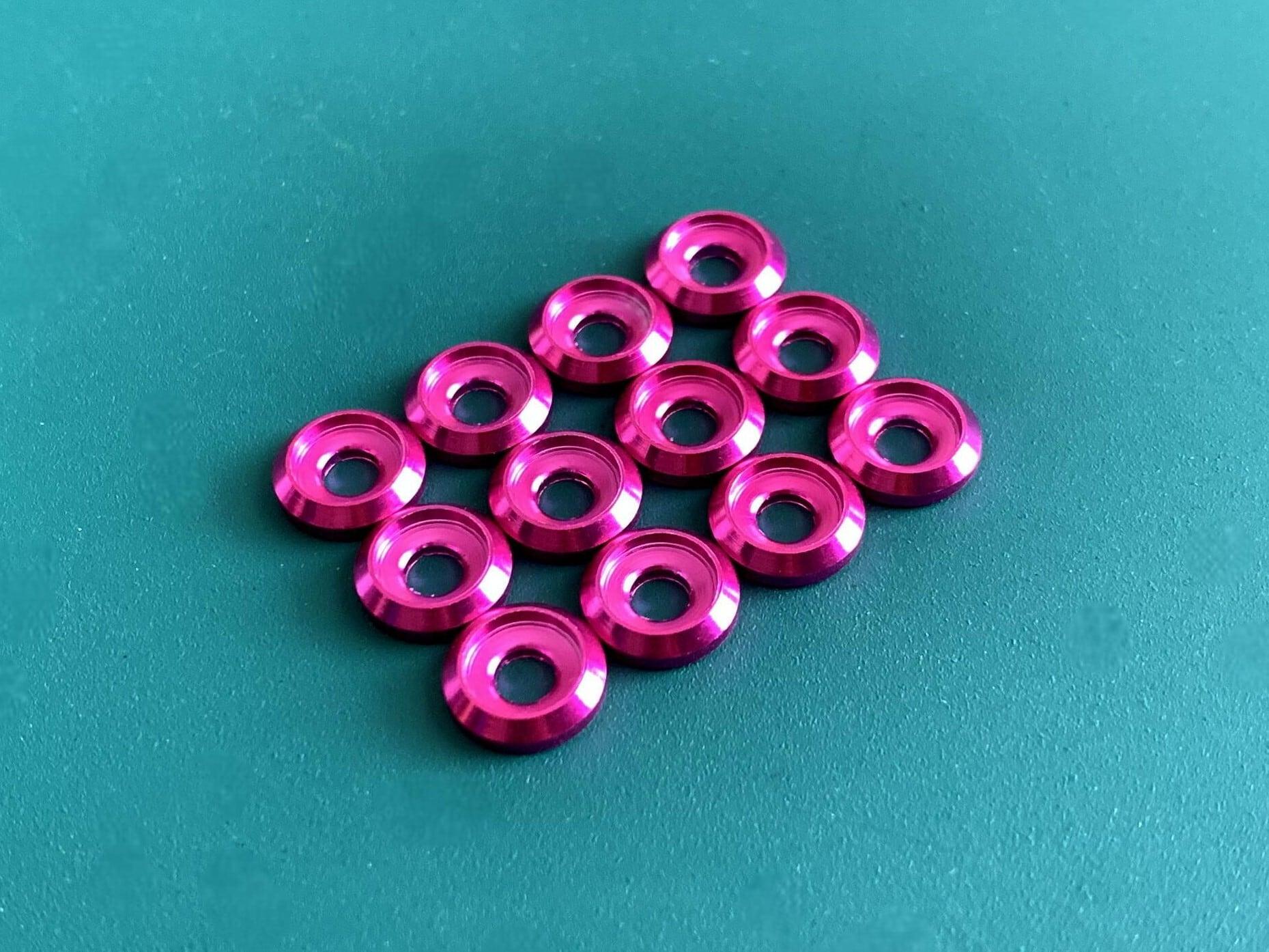 ◆M3キャップボルト用 カラーアルミワッシャー 12個セット カラー / ピンク