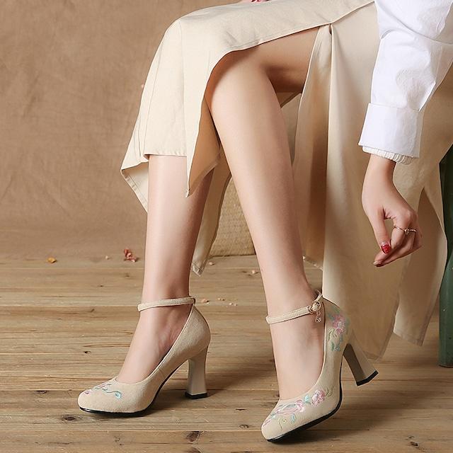 チャイナ靴 民族風 ハイヒール 34 35 36 37 38 39 40 刺繍入り チャイナドレス ベージュ  唐装・漢服