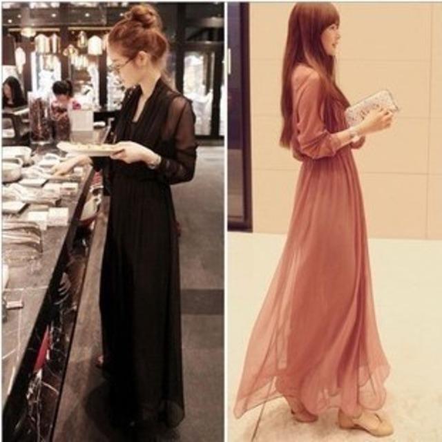 シフォンワンピース☆透け感のあるドレープロングドレス