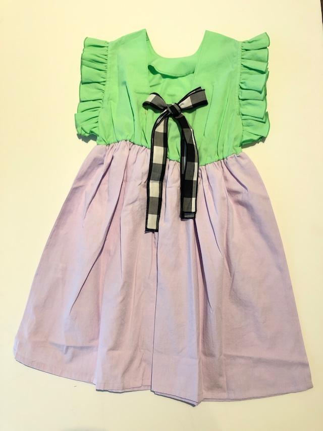 【21SS】フランキーグロウ ( frankygrow ) BACK SHAN RIBBON DRESS DYED【 S / M 】green purple ワンピース トップス
