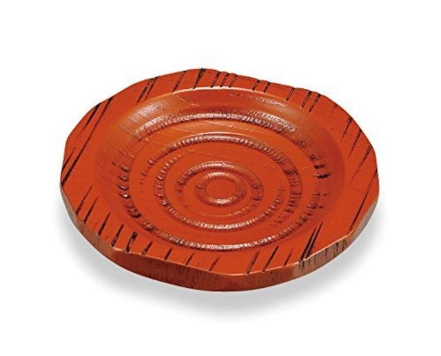KE18-004 3.3 ハツリ茶托 朱摺 5組セット