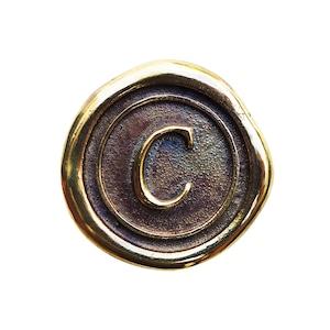 シーリングイニシャル S 〈C〉 ブラス / コンチョボタン