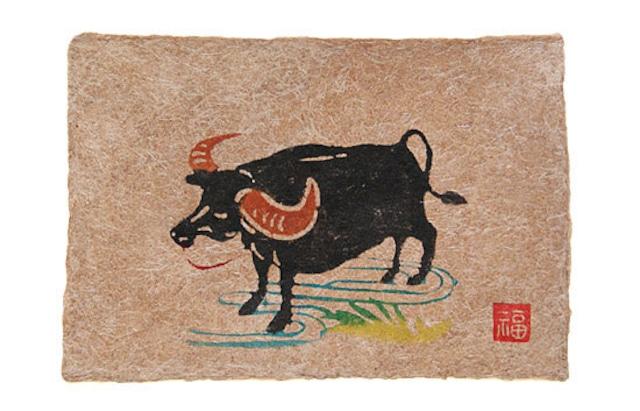 芭蕉紙型染はがき・水牛