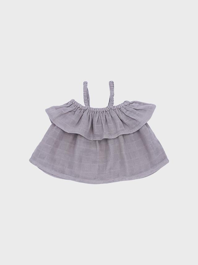 Petit Co. / Sasha Frilly Top Warm Grey