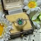 アメリカ ヴィンテージリング 1970年代 エメラルド ダイヤモンド