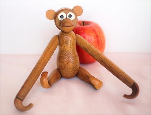 ヴィンテージ 猿の木製人形 デンマーク 木製玩具 リプロダクト カイボイスン A