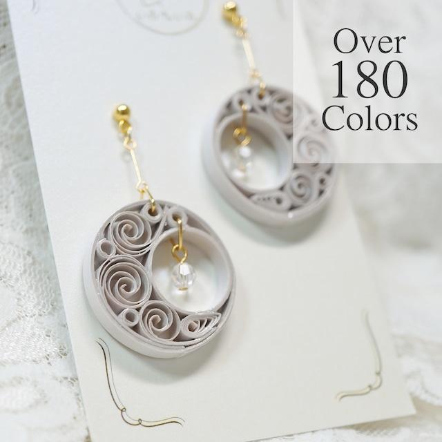 180色超から選べる一点もの♪ムーンライトイヤリング・ピアス |  紙の軽いピアスと軽いイヤリング | ペーパージュエリー