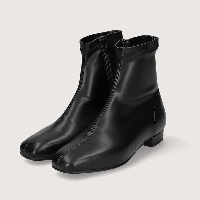 【一部難あり】スクエアトゥ ストレッチフラットブーツ:ブラック Lサイズ(OT1389)