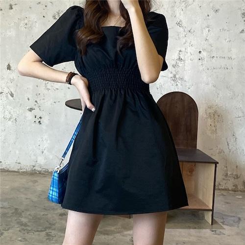 ワンピース ミニ丈 Aライン ブラック スクエアネック 韓国ファッション レディース 黒 ハイウエスト シンプル ガーリー 616628163164_bk