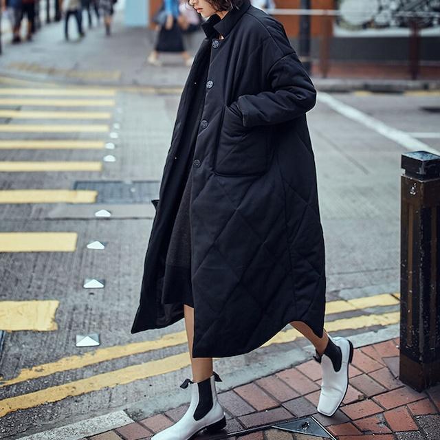 【即納】キルティングダウンコート(ブラック) アウター 秋冬 ロング リラックス ストリート インナーダウン 重ね着 シャツスタイル