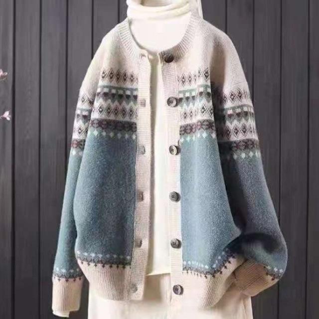 【アウター】可愛いデザイン ファッション シングルブレスト 配色 ラウンドネック ニット カーディ53517193ガン