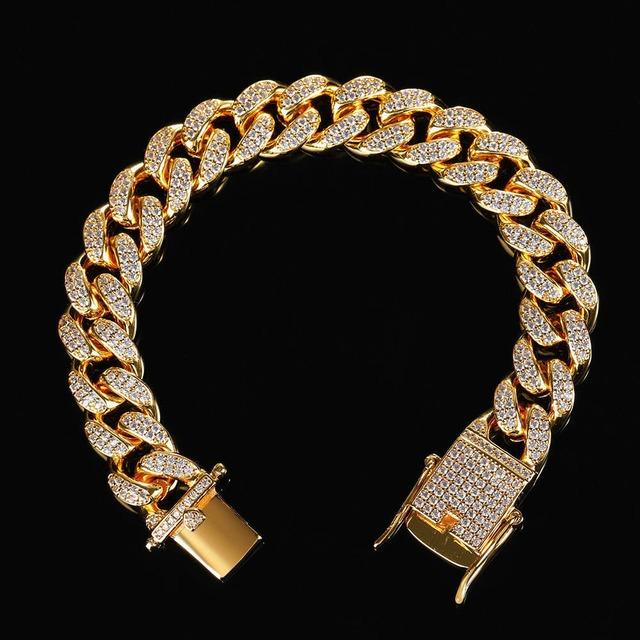 Iced Out Cuban Link Bracelet 【GOLD】
