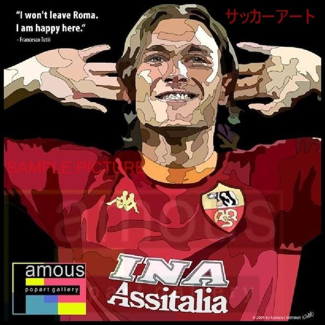 サッカーグラフィックアートパネル トッティ ASローマ 木製 壁掛け ポスター (001-061)
