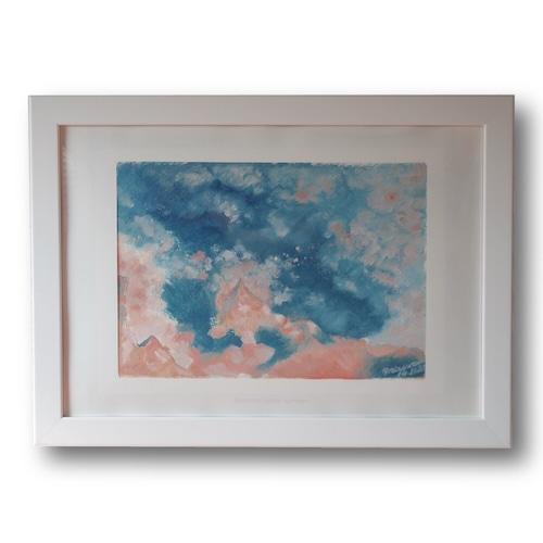 【購入後すぐに飾れる】【送料無料】『Illusion to Europa -summer-』 A5サイズ額装済み 油彩 ミクストメディア 絵画