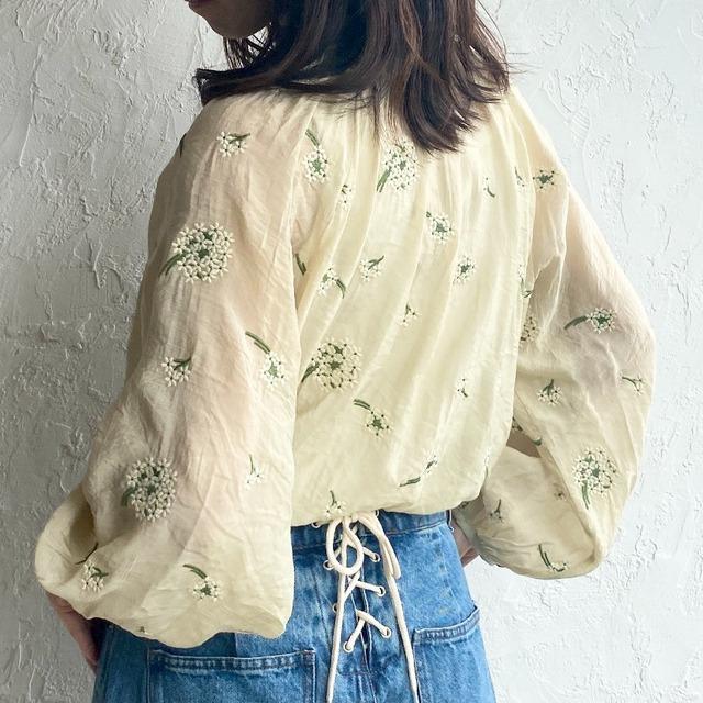 ◆即納◆花柄 刺繍 シアー ボリューム袖 長袖 ブラウス OP-t134