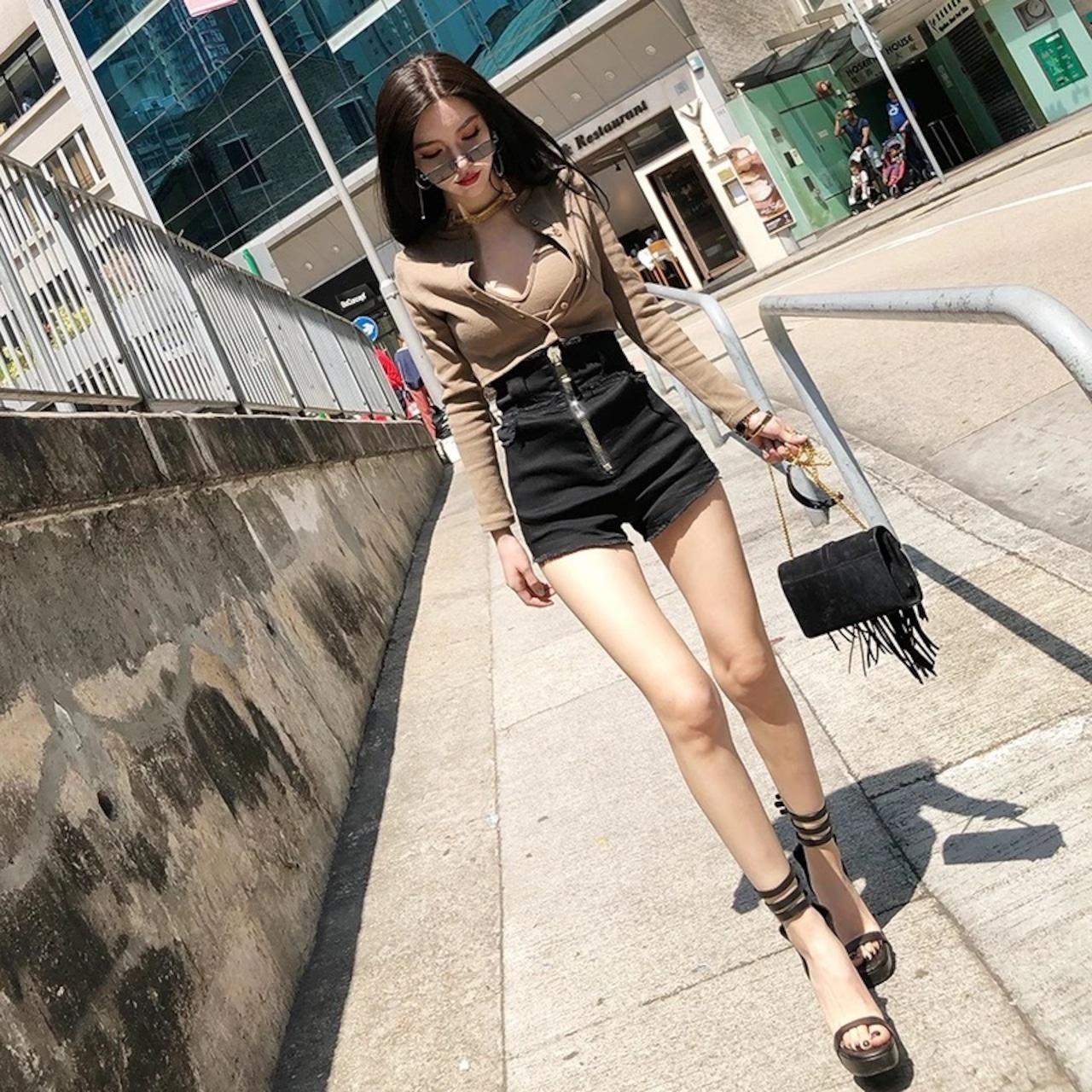 【即納】high waist zipper pants