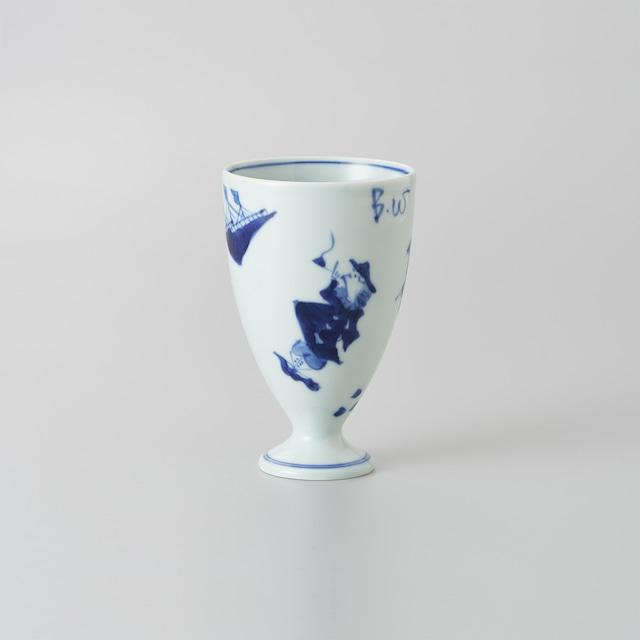 """【青花】""""異人づくし"""" フリーカップ[中]"""