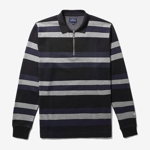 Long Sleeve Striped Zip Polo(Black/Navy/Heather Grey)