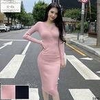 No.1488 韓国ワンピース きれいめワンピース 大人可愛いワンピース タイトワンピース ニットワンピース 2color
