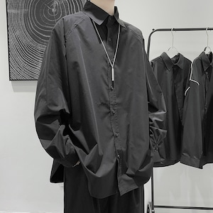 《即納》ワンカラー・ロング丈長袖シャツ