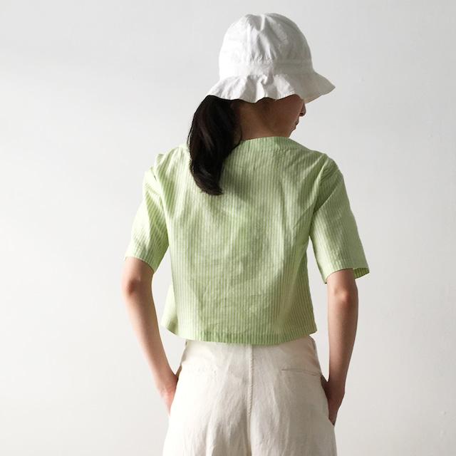 "Square neck short tops ""neon green stripe"""