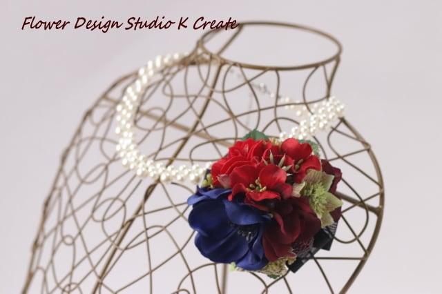 卒業入学式に♡青いアネモネと赤いお花のプチコサージュ(ヘッドドレス可) 卒業式 入学式 コサージュ ヘアクリップ おでかけ フォーマル