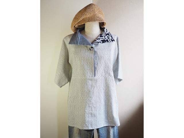 選べる白絣に変わり衿のかぶりブラウス【セミオーダー】-綿・麻昆の着物地から