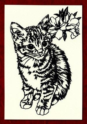 切り絵ポストカードno011 一緒に行きたがる猫(E-4-01611)