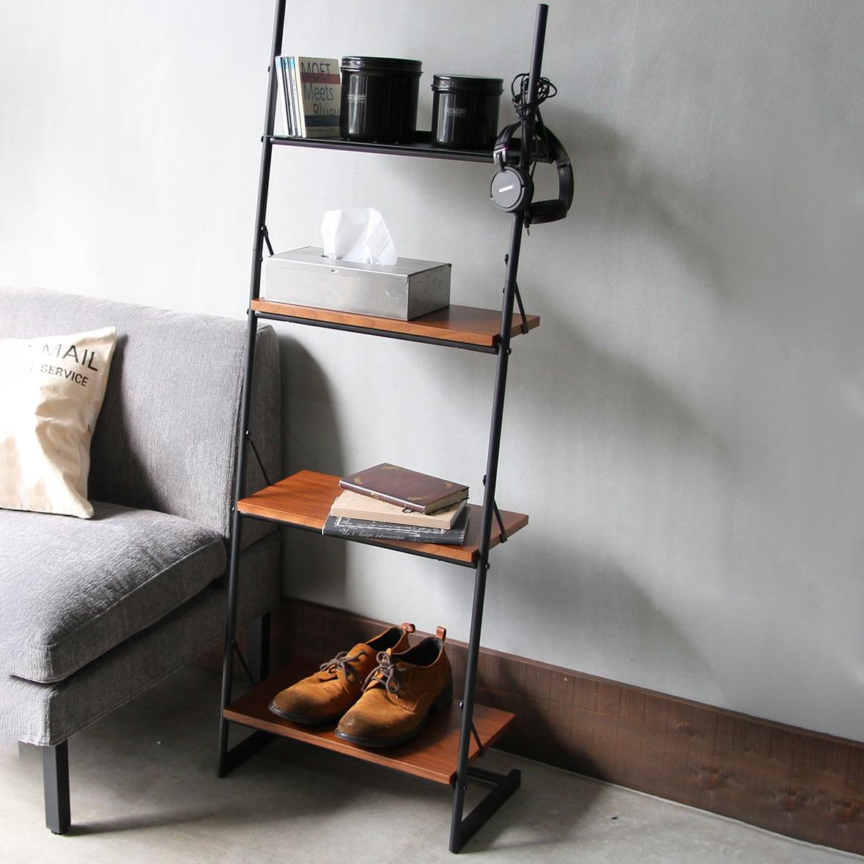 雑貨屋さんの2wayラダーラック「スリムタイプ」雑誌などで人気急上昇中のカフェ風収納アイテム。