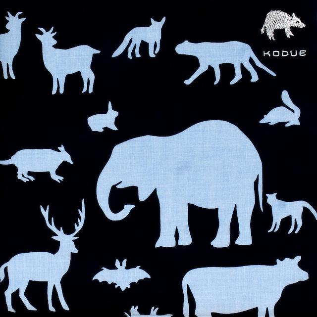 ひびのこづえ ハンカチ 動物 / ブラック 刺繍入り 2枚合わせ 48x48cm KH07-01