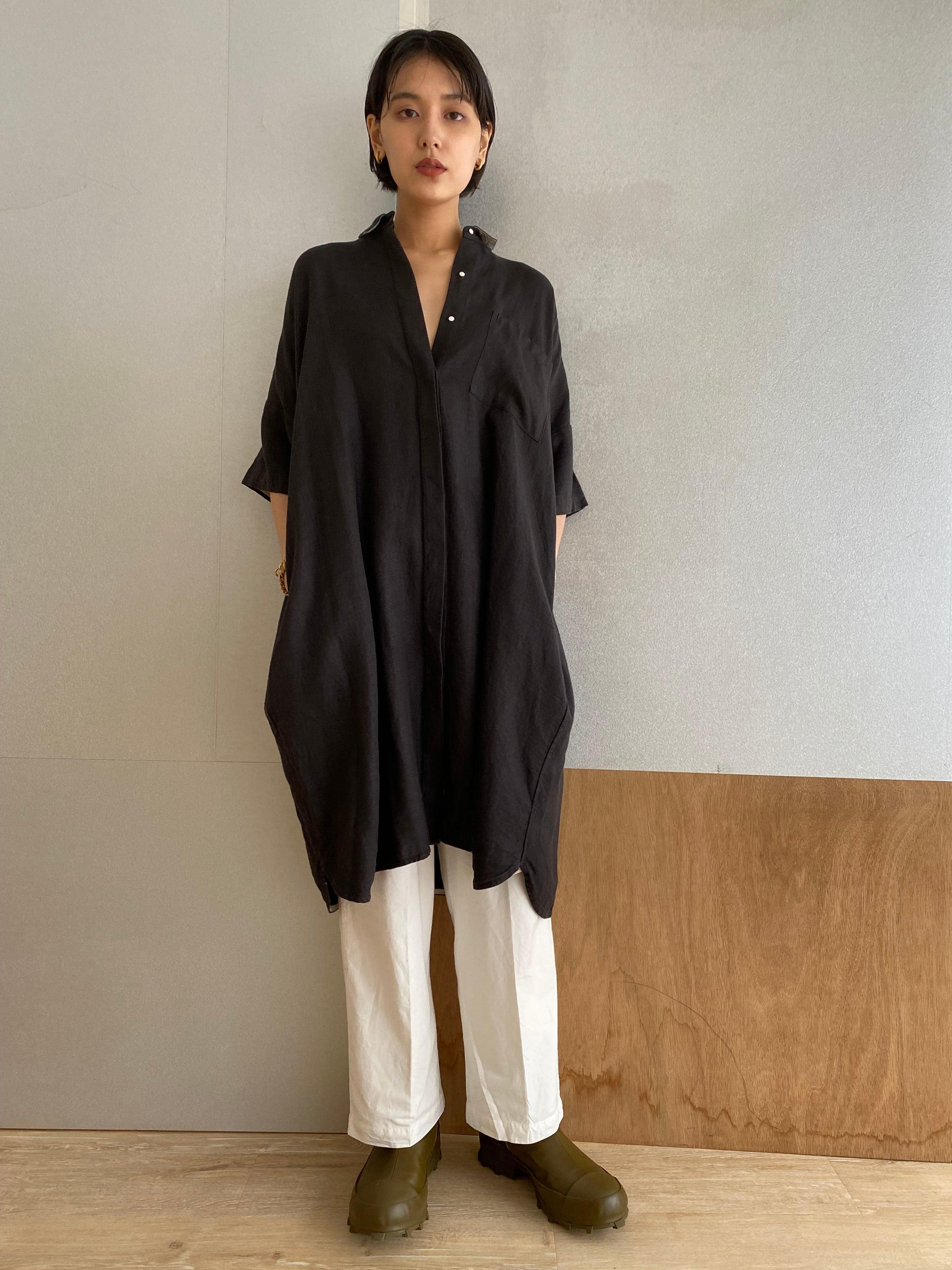 """Drop shoulder shirts dress """"black kassis""""natural dyed"""