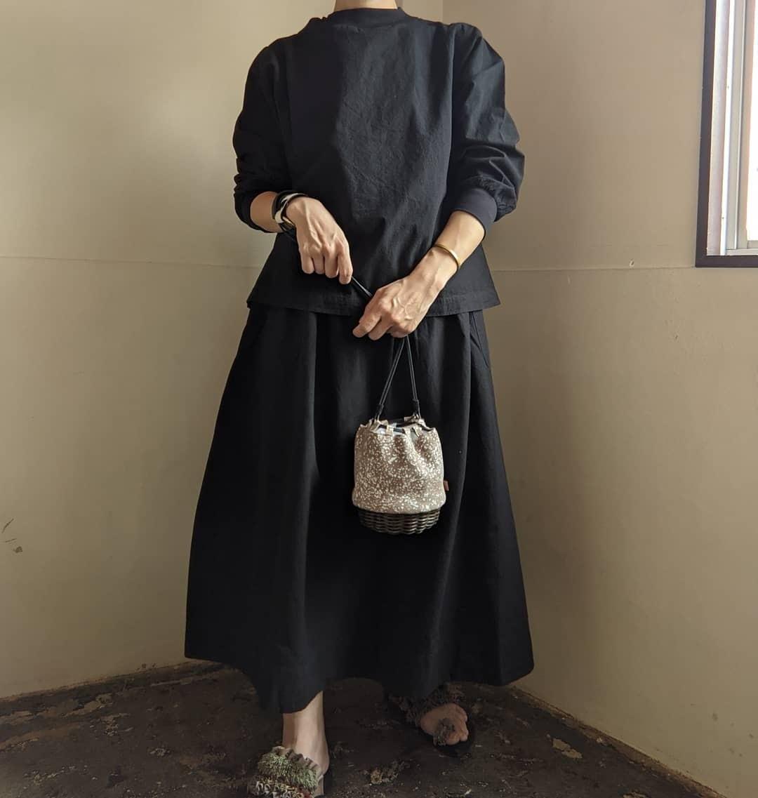 【 ikot 】イコット / レザー✕ラタン ミニ巾着バッグ