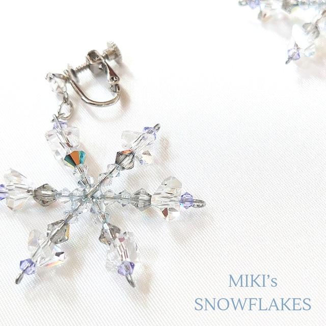 Beaded Snowflake Earrings 雪の結晶イヤリング(ピアス)