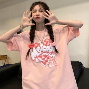 【トップス】キュート立体感ありハート図柄ファッションストリート系半袖Tシャツ47060759