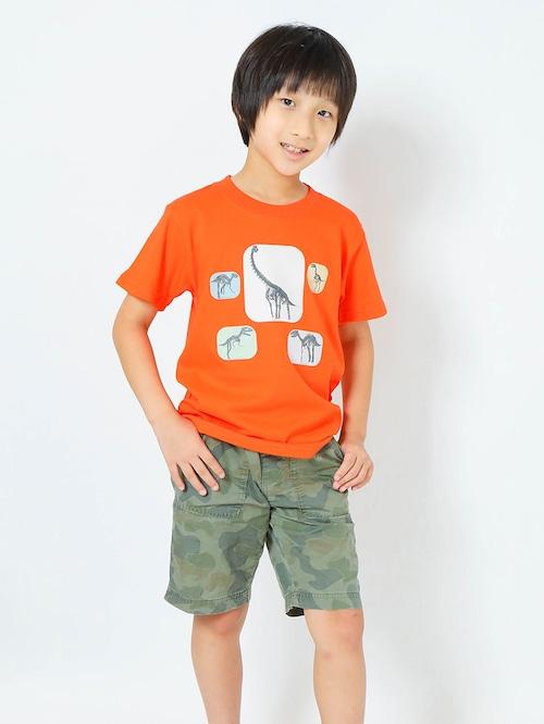 恐竜3D骨プリントTシャツ子供用 カリフォルニアオレンジ【KT-BO】