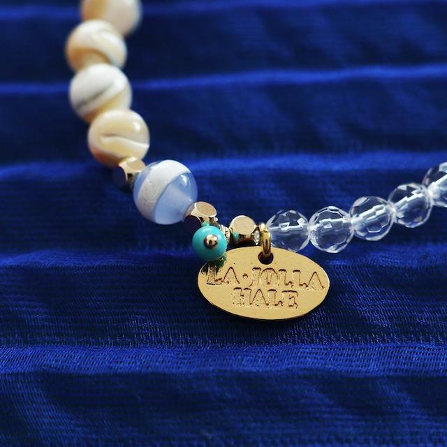 薬師天珠ブレスレット:水晶×マザーオブパール 【ゴールド】: TBYSCSLP70
