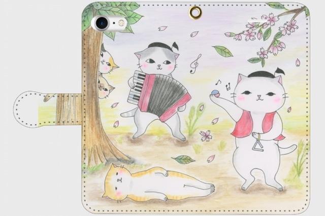 (iPhone用)催眠音楽猫の手帳型スマホケース