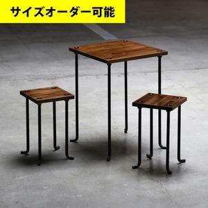 IRON BAR CAFE TABLE & 2 STOOL SET[BROWN COLOR]サイズオーダー可