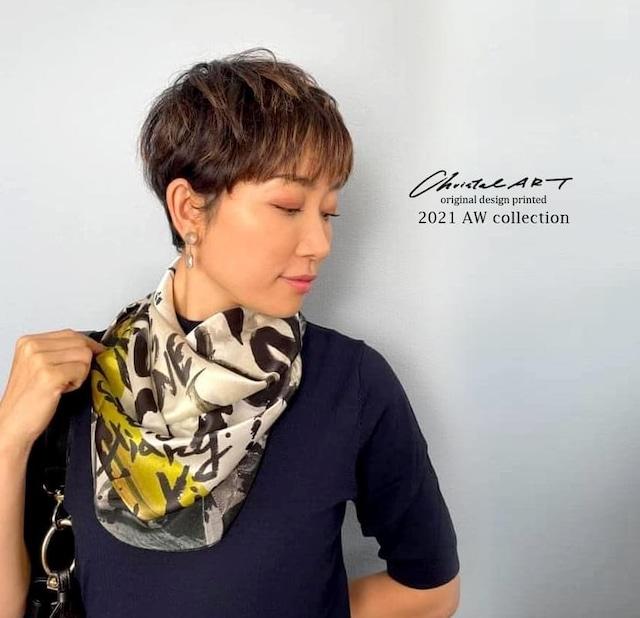 ◆即納◆2021newアートペイントパンダ 大判シルクスカーフ