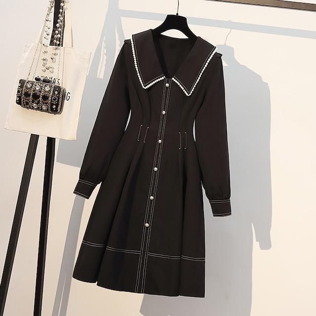 ワンピース 通勤 黒 シャツワンピース 大きいサイズ 長袖 ブラック L XL 2XL 3XL