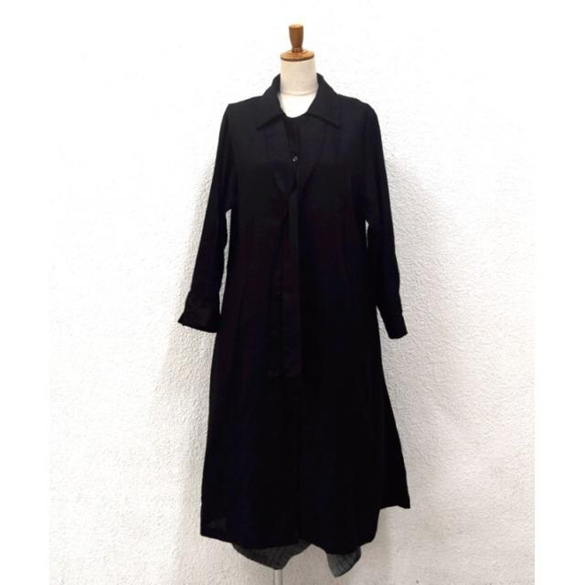 リネン ロングシャツワンピースドレス ブラック無地