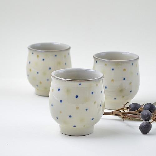三彩水玉柄の湯呑