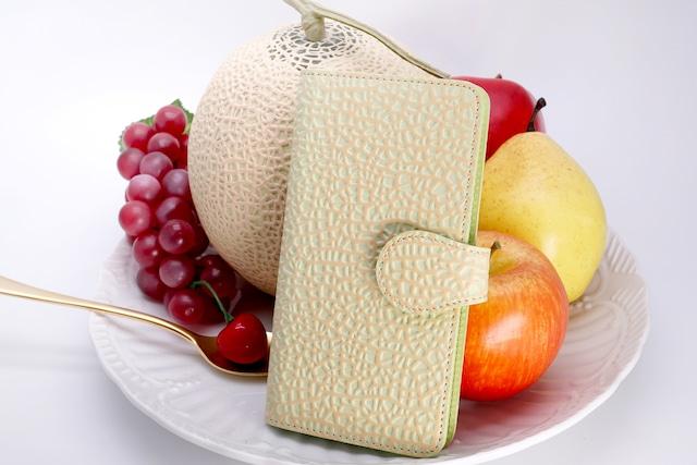 牛革製・クラウンメロンなスマホケース(Lサイズ)iPhone Plus XR ほか多機種対応/静岡クラウンメロンコラボ