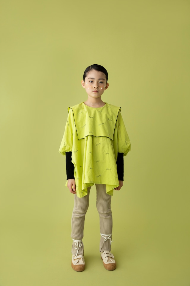 【21AW】folkmade(フォークメイド)  embroidery rogo sailor シャツ limegreen×black(L)