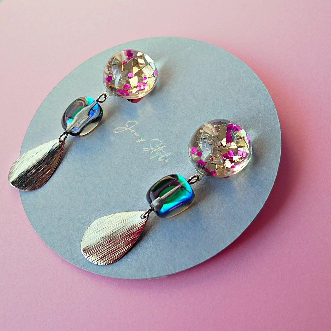 """ Earrings NO.0-1976″ 乱切りラメ&ルナフラッシュ"