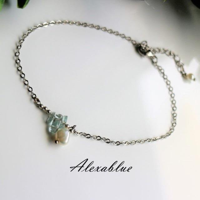 アクアマリンアンクレット 天然石アンクレット 3月誕生石アンクレット 3月誕生石アクセサリー ハンドメイドアクセサリー ハンドメイドブレスレット おしゃれブレスレット プレゼントブレスレット プレゼントアクセサリー