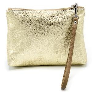 イタリア製 化粧ポーチ バッグインバッグ ゴールド